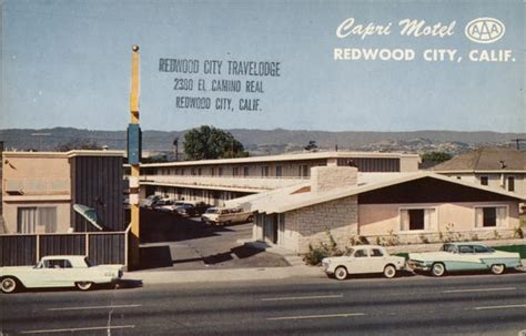 motel redwood city ca postcard