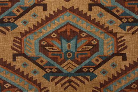 Southwestern Upholstery Fabrics by Richloom Saranac Southwestern Printed Linen Drapery Fabric