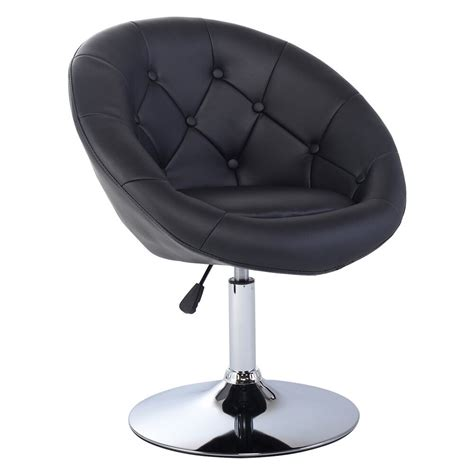 adjustable modern swivel  tufted  accent chair pu leather black pc ebay