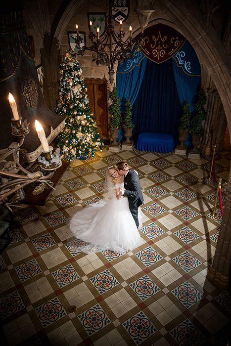 A winter wedding waltz in Cinderella Castle.   Portrait