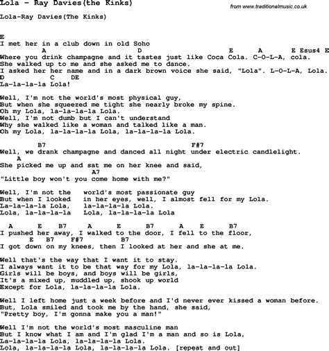 Song Lola By Davies The Kinks Song Lyric For Vocal