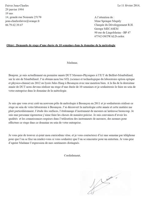 Exemple De Lettre De Motivation Dut Informatique lettre de motivation dut mesure physique lettre de