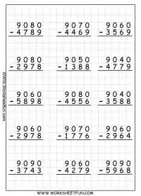subtraction regrouping free printable worksheets