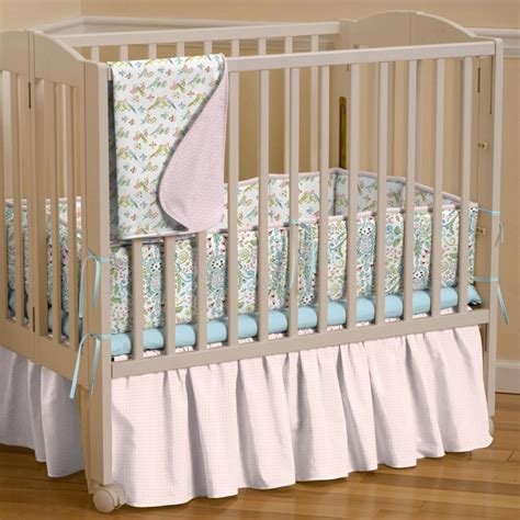 Pink Circles Mini Crib Skirt Gathered Carousel Designs Mini Crib Bed Skirt