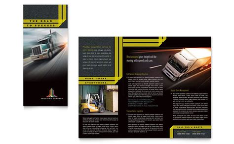 trucking amp transport tri fold brochure template design
