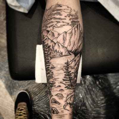 mountain scene tattoo designs thebutcherblog did this mountain river on my
