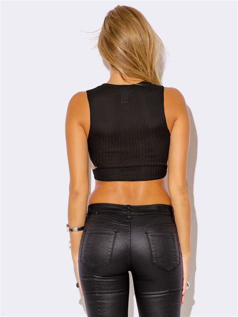 Beat Cut Out Top black cut out crop top modishonline