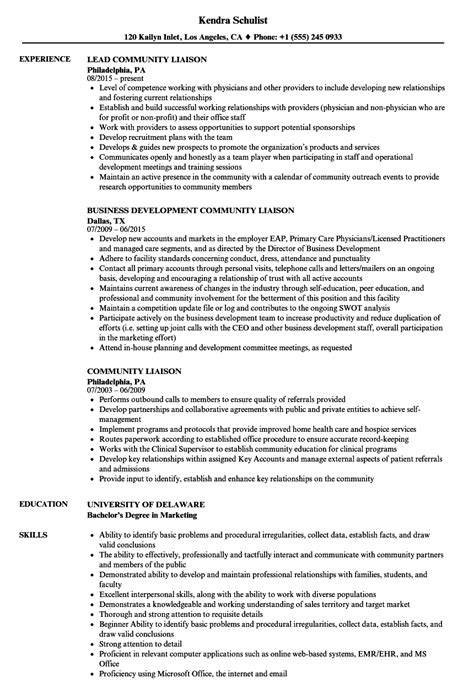 Student Liaison Officer Cover Letter by Student Liaison Officer Sle Resume Community Liaison Resume Sles Velvet As400