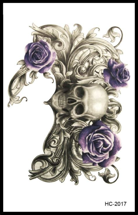 cross bones skull spiderweb and rose tattoos real photo