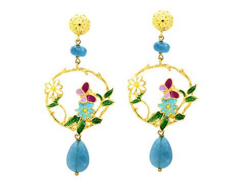 orecchini fiori orecchini fiori e farfalla con pietre naturali azzurre