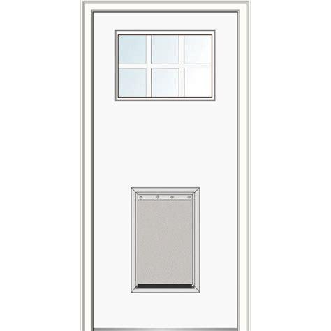 Exterior Doors With Pet Doors Mmi Door 32 In X 80 In Craftsman 6 Lite Low E Right Primed Fiberglass Smooth Prehung