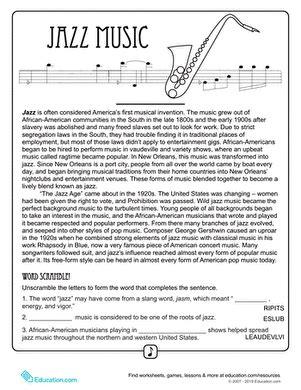 jazz history worksheets history of jazz worksheet education