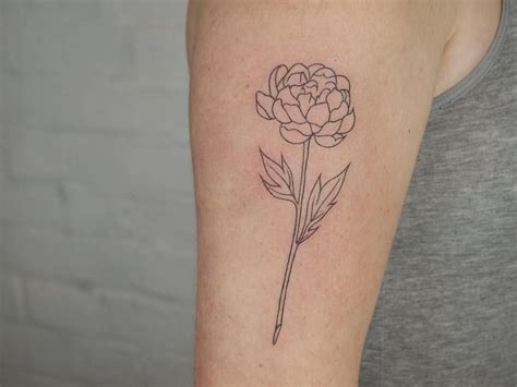simple sleeve tattoos simple peony outline on outer arm ty rachellpearson