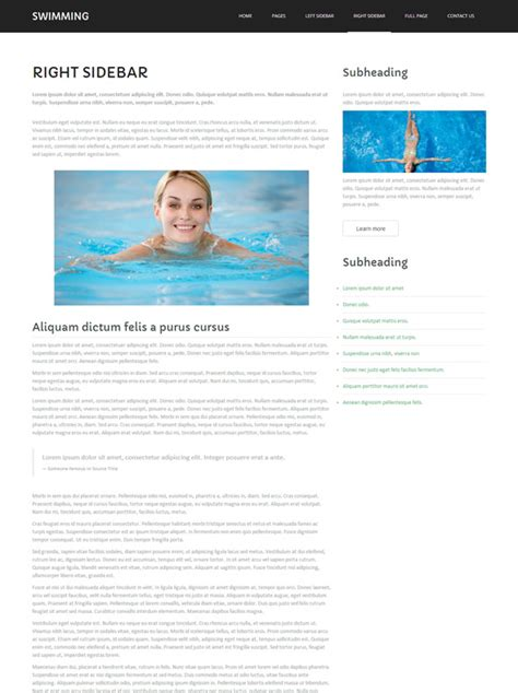 Swimming Club Website Template Swimming Website Templates Dreamtemplate Swim Team Website Templates