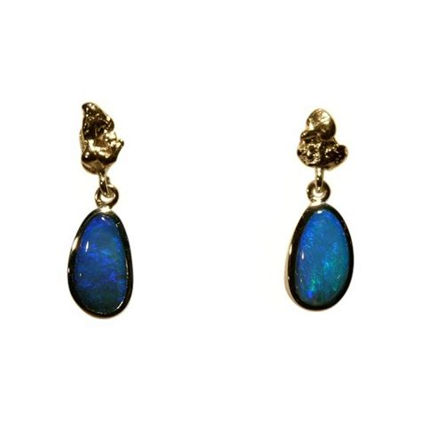 blue opal earrings blue opal earrings with gold nugget in 18k gold flashopal