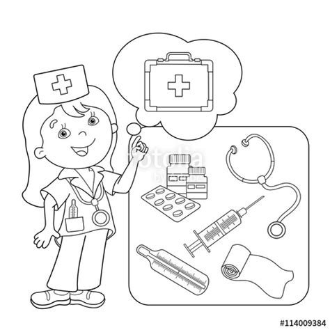 quot coloring page outline of cartoon doctor with first aid