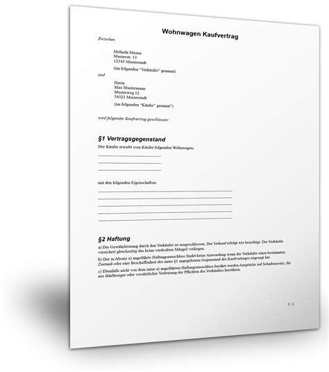 Motorrad Kaufvertrag Vorlage Sterreich by Kostenlose Vorlage F 252 R Einen Wohnwagen Kaufvertrag