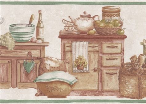 country wallpaper borders for kitchen green countrystyle kitchen wallpaper border