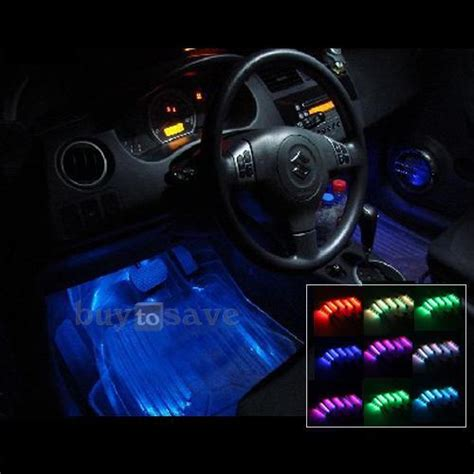 Interior Neon Car Lights by Set 4 Car 7 Color 72 Led Interior Neon Lights Remote Ebay