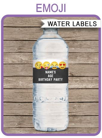 emoji water bottle labels template emoji theme decorations