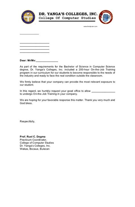 application letter for ojt doc application letter for ojt endorsement best free
