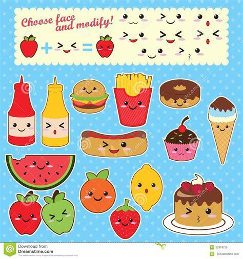 imagenes kawaii de comida chatarra sistema de la comida del kawaii del vector ilustraci 243 n del