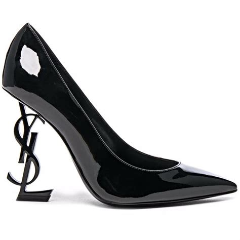 ysl high heels laurent ysl black patent leather 110 opium monogram