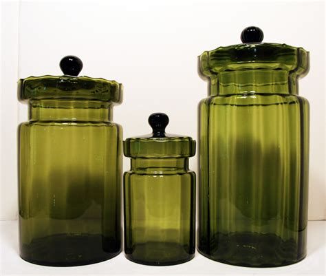 green canisters kitchen italian vintage optic glass olive green blown canisters retro glass