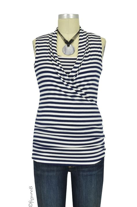 Baju Stripe Blouse Es baju edge sleeveless maternity nursing top in navy white stripes
