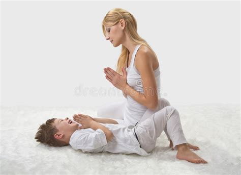 mom and son straight shota 3d mother and son do yoga stock photo image of health