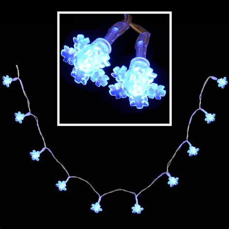 10 blue led snowflake fairy lights indoor battery operated