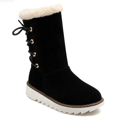 boots black flat heel flock tie up snow boots rrnwyrtp