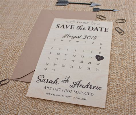 Save The Date Calendar Real Wood Calendar Save The Date