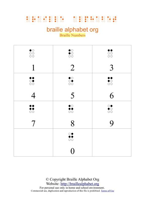 printable numbers pdf printable braille number charts in pdf braille alphabet org
