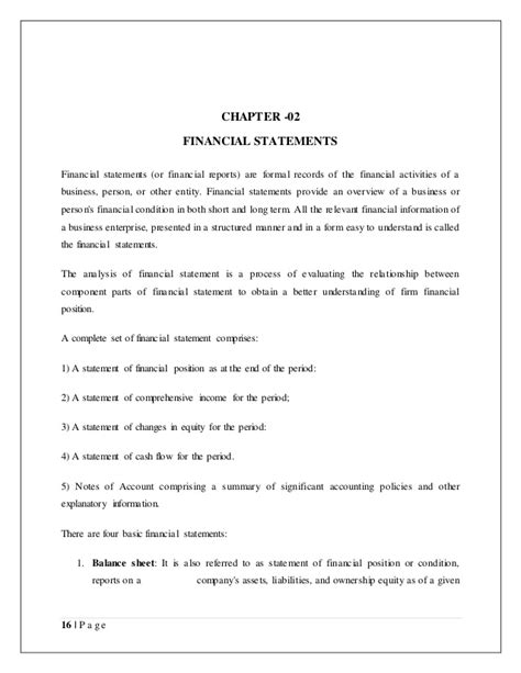Financial Viability Letter Template Project Report On Financial Statement Analysis And Interpretation Of