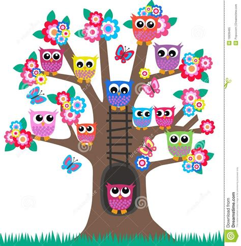 Tree Branch Wall Sticker owls in a tree royalty free stock photo image 19939465