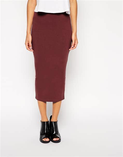 asos midi pencil skirt in jersey in purple burgundy lyst