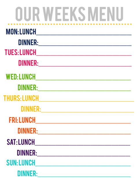 Lovely Little Snippets Updated Free Printable Menu Free Printable Lunch Menu Template