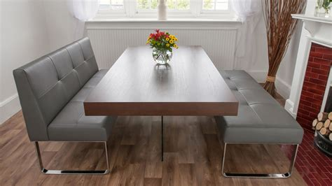 Modern Gray Vinyl Dining Banquette With Chromed Metal Base Modern Dining Tables With Benches