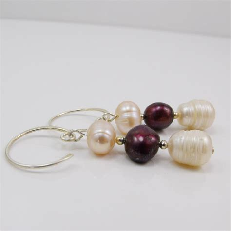 Handmade Pearl Earrings - pearl drop earrings with sterling silver hooks 118