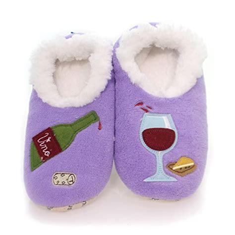 wine slippers hegifts snoozies womens classic splitz applique