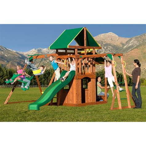 walmart playsets for backyard backyard discovery scottsdale cedar swing set walmart