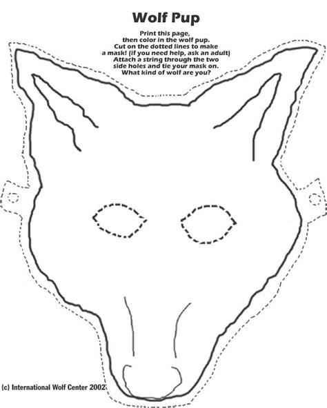 printable wolf mask black and white wolf mask animal crafts pinterest masks wolf pup