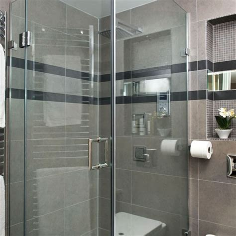 Shower Enclosure See This Sleek Grey Bathroom Makeover Grey Tile Bathroom Designs