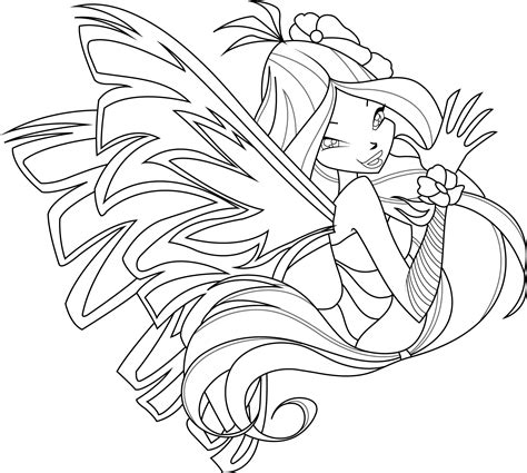 flora sirenix coloring page by icantunloveyou on deviantart