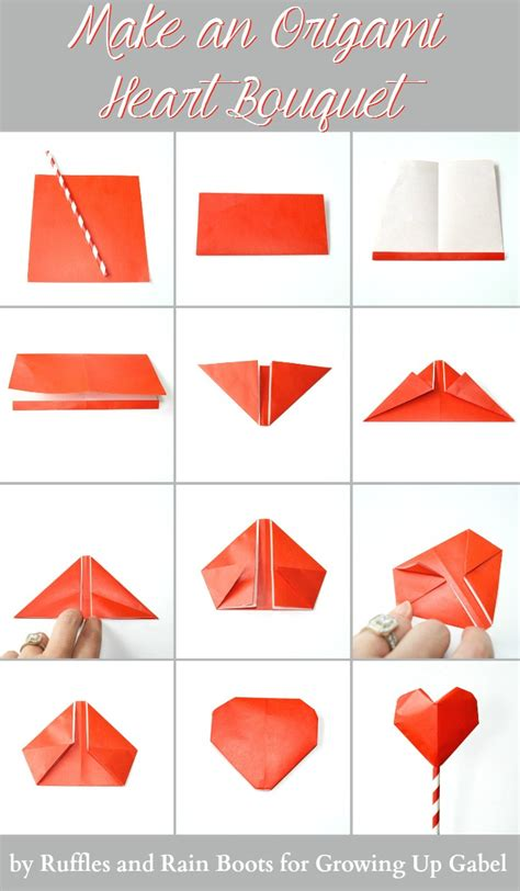 How To Fold Paper Hearts Step By Step - origami bouquet and garland