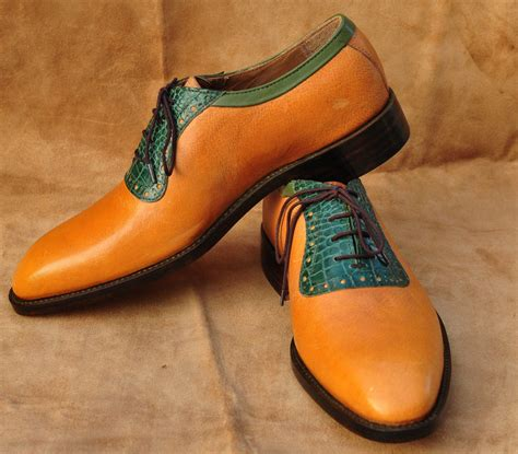 Handmade Mens Oxford Shoes - handmade mens oxford brown cow and green crocodile leather