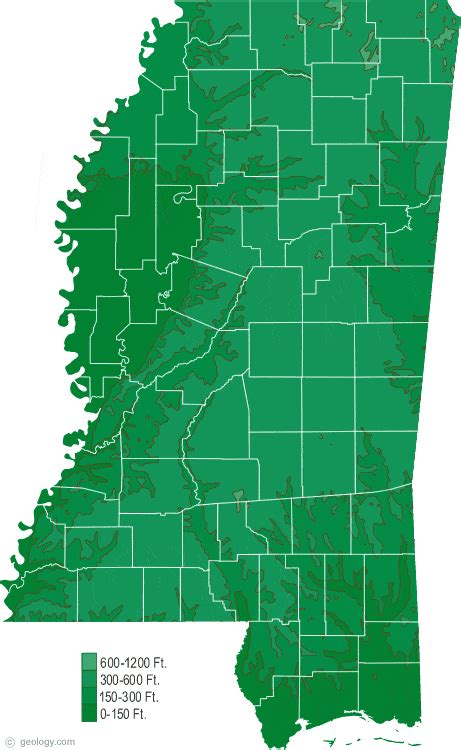 mississippi physical map  mississippi topographic map