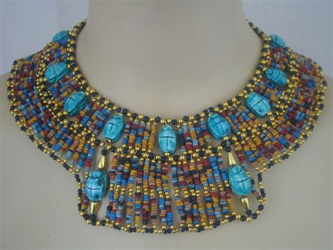 ancient egyptian cleopatra collar necklaces egyptian mummybead cleopatra bib collar necklace 13 by thenile