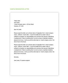 Resignation Letter 2 Week Notice Pdf by Sle Resignation Letter With 2 Week Notice 6 Exles In Word Pdf